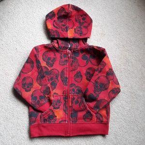 healthtex Shirts & Tops - Red Skull Zip Up Hoodie Boys 24 mo